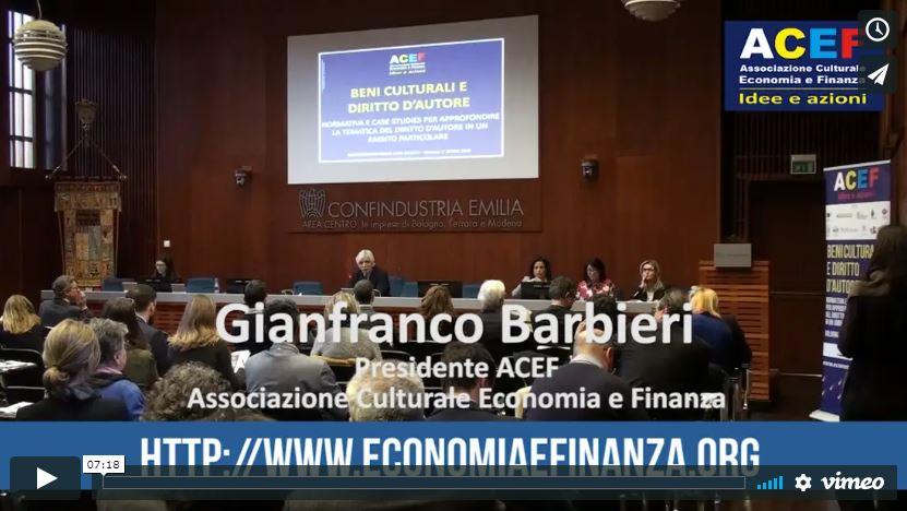 Di cultura, diritto ed economia del diritto d'autore e dei beni culturali – Dott. Gianfranco Barbieri