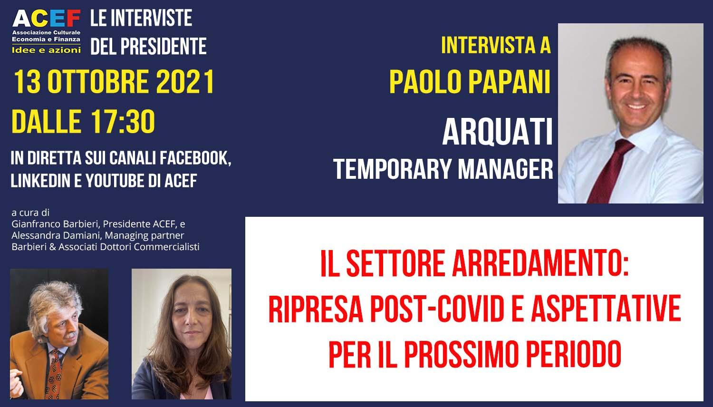 Read more about the article Settore arredamento – Paolo Papani per Arquati Tendaggi – 13/10/2021
